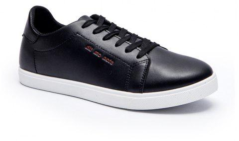 Men Fashion PU Flat Shoes Casual Sneakers for Students - BLACK 40