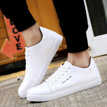 Men Fashion PU Flat Shoes Casual Sneakers for Students - WHITE 42