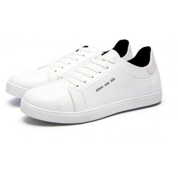 Men Fashion PU Flat Shoes Casual Sneakers for Students - WHITE 39