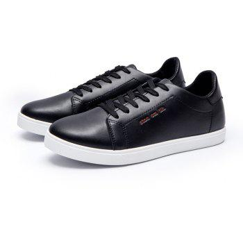 Men Fashion PU Flat Shoes Casual Sneakers for Students - BLACK 43