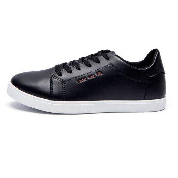Men Fashion PU Flat Shoes Casual Sneakers for Students - BLACK 44