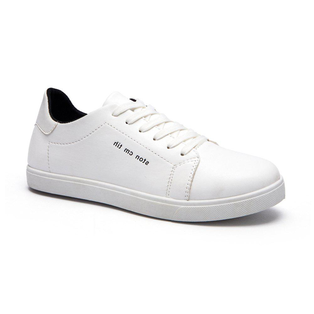 Men Fashion PU Flat Shoes Casual Sneakers for Students - WHITE 40