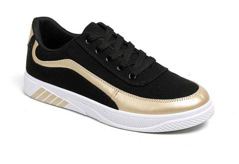 Men Lace Up Breathable Casual Shoes Fashion Sneakers for Students - BLACK / GOLDEN 42
