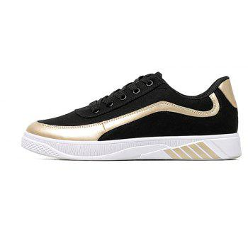 Men Lace Up Breathable Casual Shoes Fashion Sneakers for Students - BLACK / GOLDEN 40