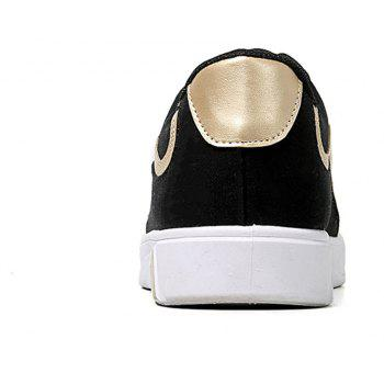 Men Lace Up Breathable Casual Shoes Fashion Sneakers for Students - BLACK / GOLDEN 39