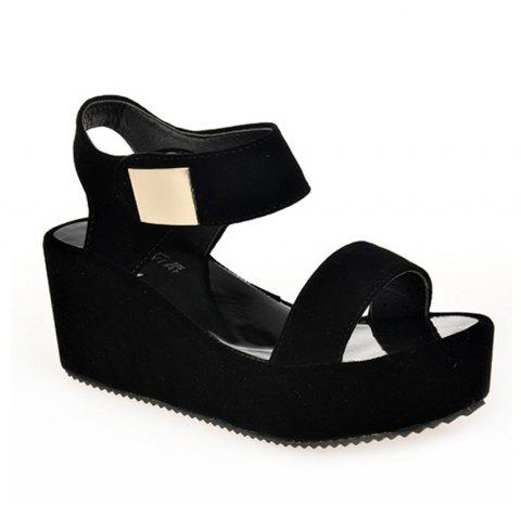 Ladies Summer Sandals Fashion Thick Bottom Shoes for Girls - BLACK 38