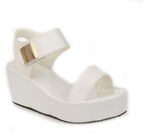 Ladies Summer Sandals Fashion Thick Bottom Shoes for Girls - WHITE 37