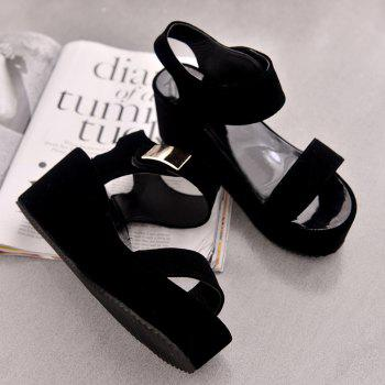 Ladies Summer Sandals Fashion Thick Bottom Shoes for Girls - BLACK 37