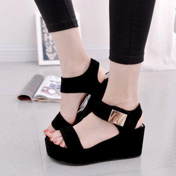 Ladies Summer Sandals Fashion Thick Bottom Shoes for Girls - BLACK 36