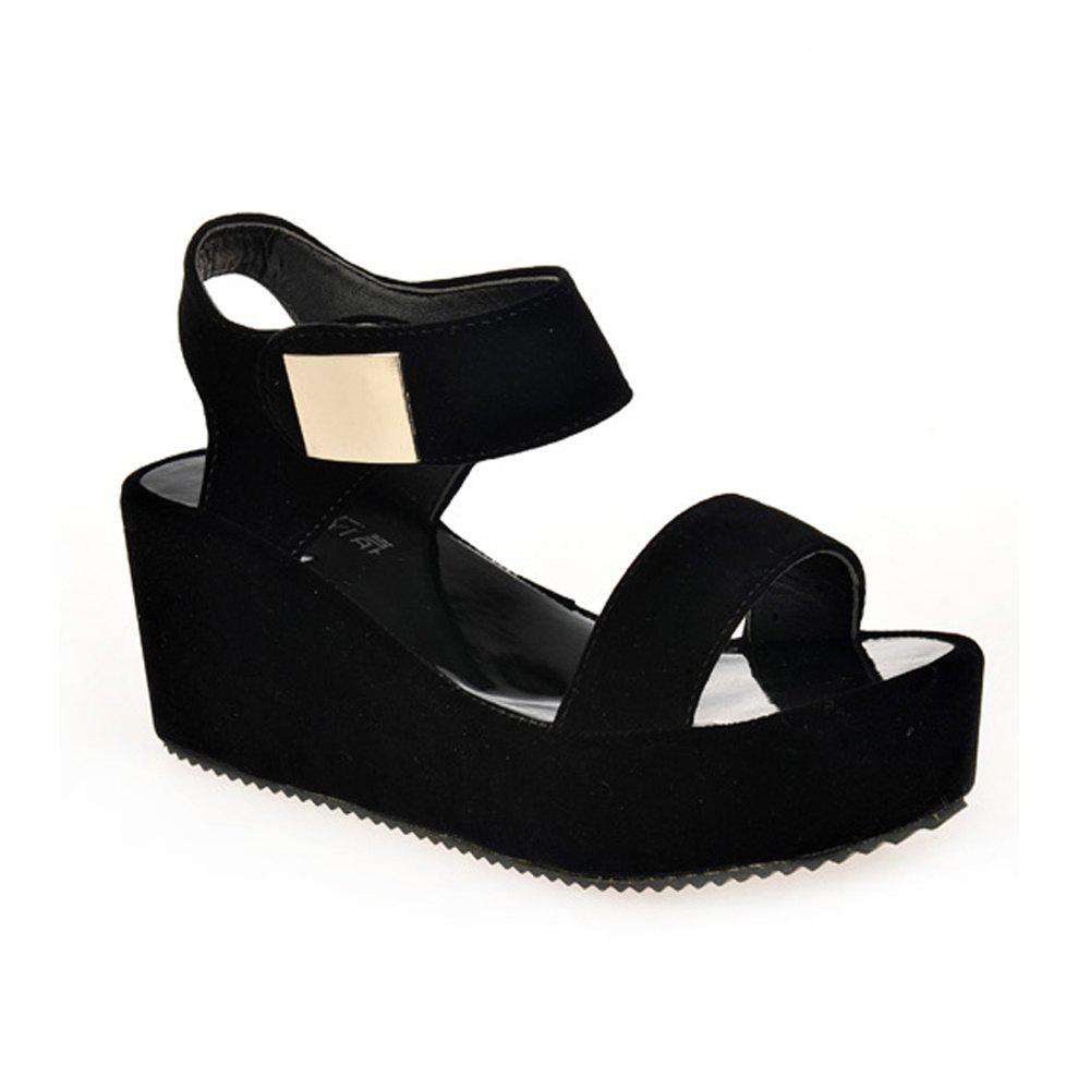Ladies Summer Sandals Fashion Thick Bottom Shoes for Girls - BLACK 39