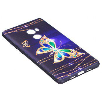 Relief Silicone Case for Xiaomi Mix 2 Large Butterfly Pattern Soft TPU Protective Back Cover - PURPLE