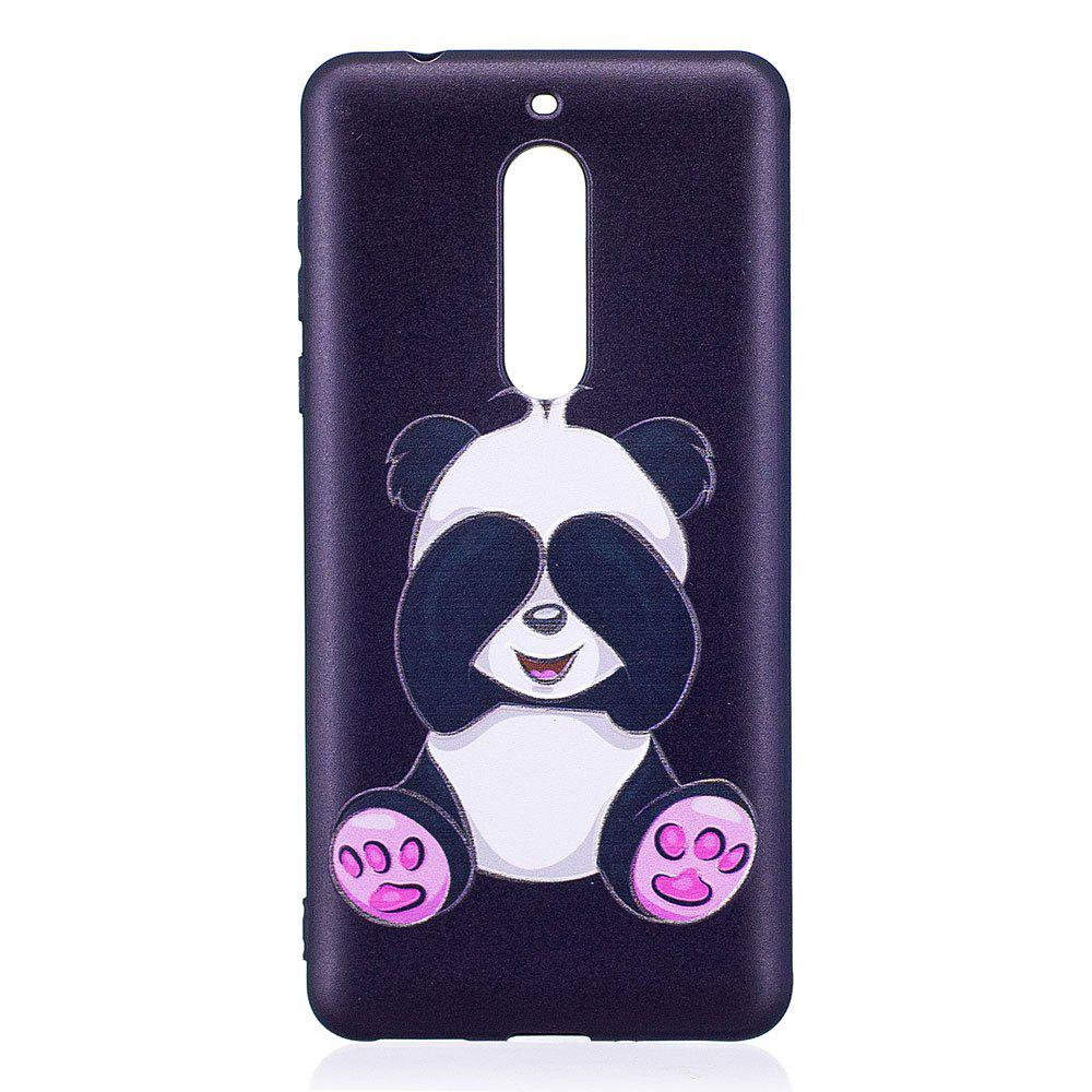 Relief Silicone Case for Nokia 5 Panda Pattern Soft TPU Protective Back Cover - BLACK
