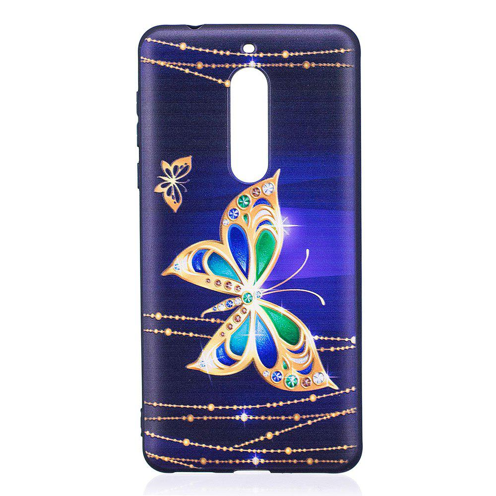 Relief Silicone Case for Nokia 5 Large Butterfly Pattern Soft TPU Protective Back Cover - PURPLE