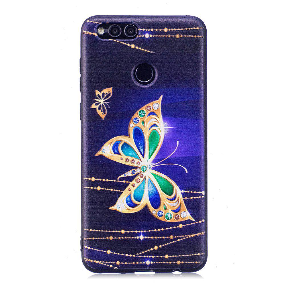 Relief Silicone Case for Huawei Honor 7X Large Butterfly Pattern Soft TPU Protective Back Cover - PURPLE