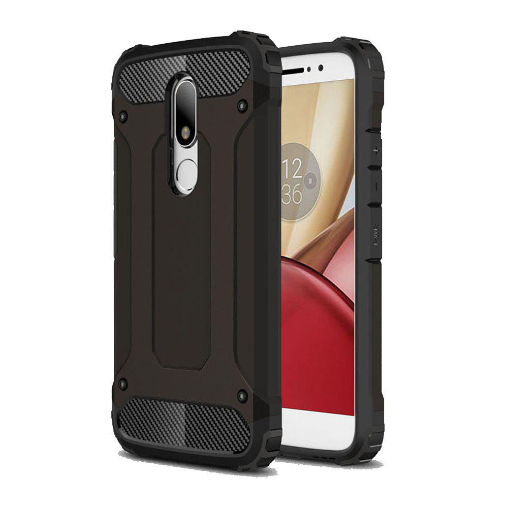 Hockproof Protective Cover for Motorola Moto M Armor Hard Mobile Phone Cases - BLACK