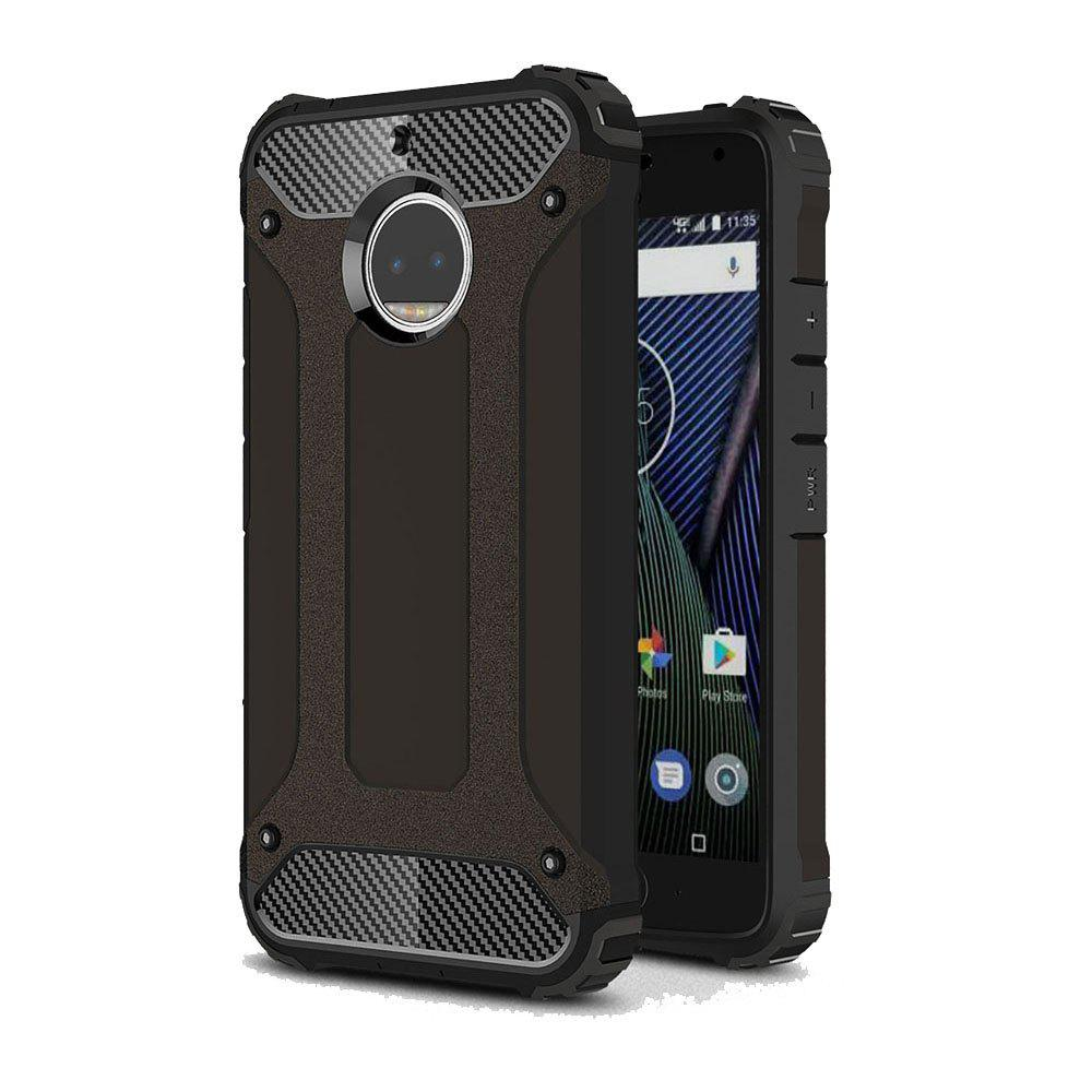 Hockproof Protective Cover for Motorola Moto G5S Plus Armor Hard Mobile Phone Cases - BLACK