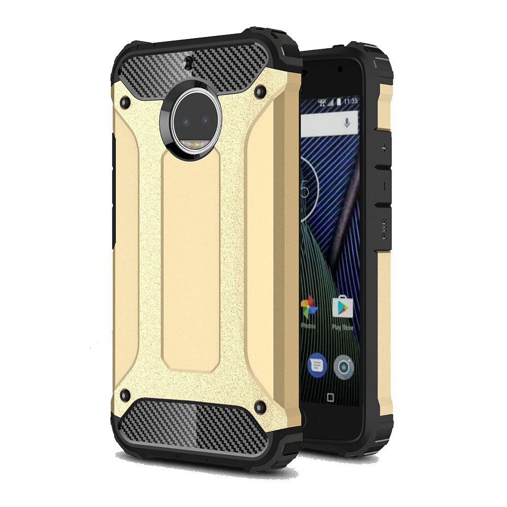Hockproof Protective Cover for Motorola Moto G5S Plus Armor Hard Mobile Phone Cases - GOLDEN