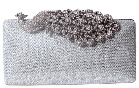 Women Bags Poly Urethane Metal Evening Bag Crystal Rhinestone For Wedding Event Party Formal - SILVER