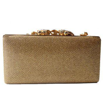 Women Bags Poly Urethane Metal Evening Bag Crystal Rhinestone For Wedding Event Party Formal - GOLDEN