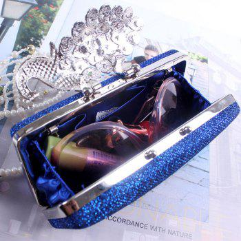 Women Bags Poly Urethane Metal Evening Bag Crystal Rhinestone For Wedding Event Party Formal - BLUE