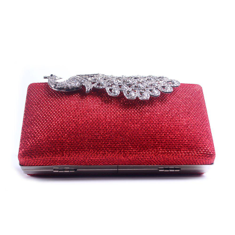 Women Bags Poly Urethane Metal Evening Bag Crystal Rhinestone For Wedding Event Party Formal - RED