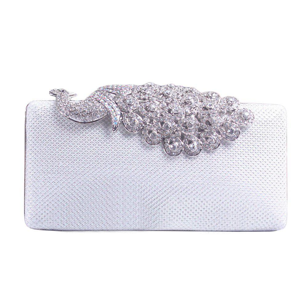 Women Bags Poly Urethane Metal Evening Bag Crystal Rhinestone For Wedding Event Party Formal - WHITE