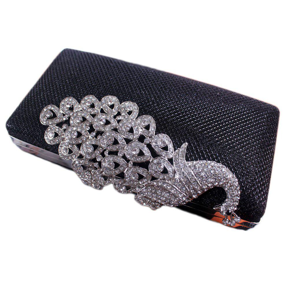 Women Bags Poly Urethane Metal Evening Bag Crystal Rhinestone For Wedding Event Party Formal - BLACK