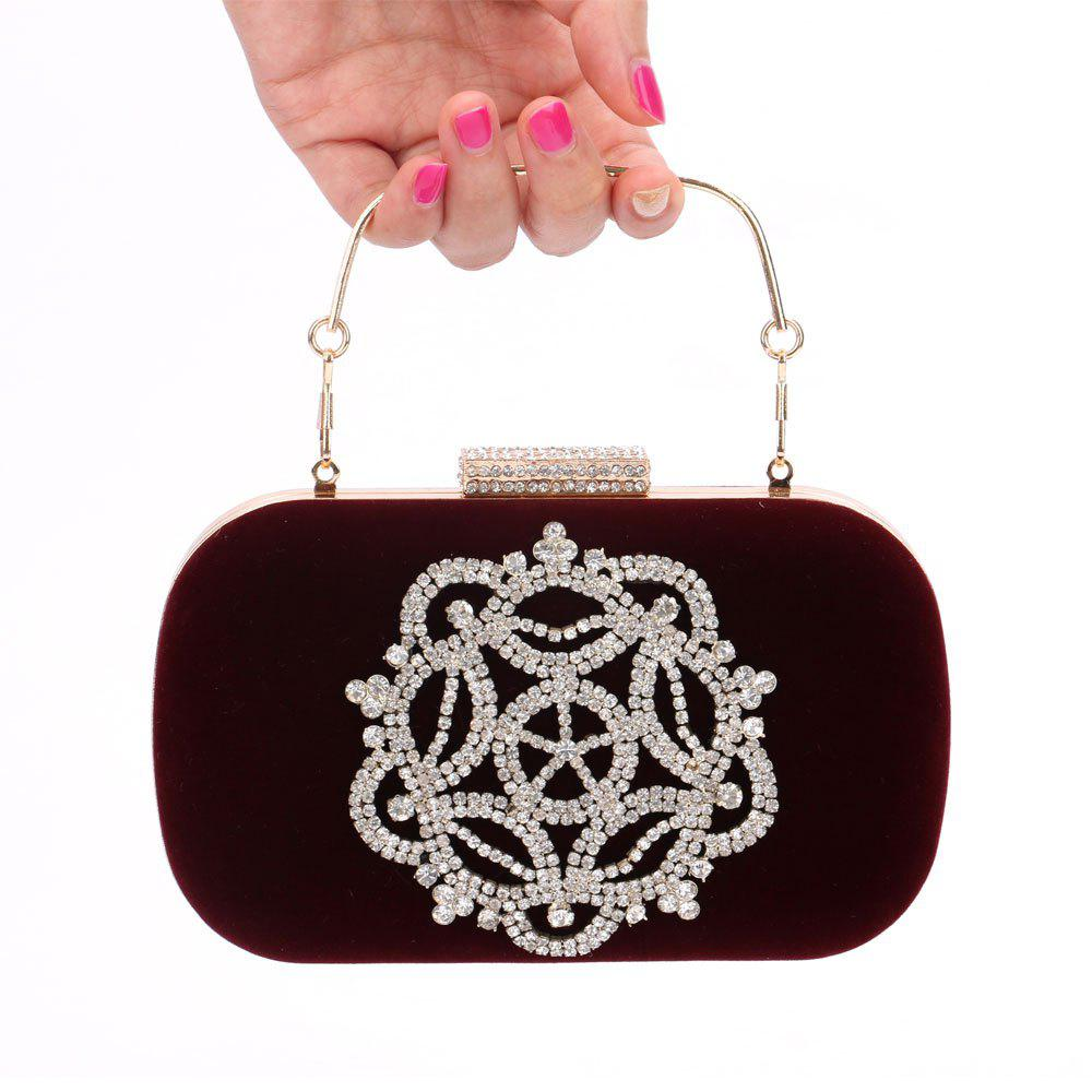 Women Velvet Evening Bag Crystal Rhinestone Wedding Event Party Formal - WINE RED