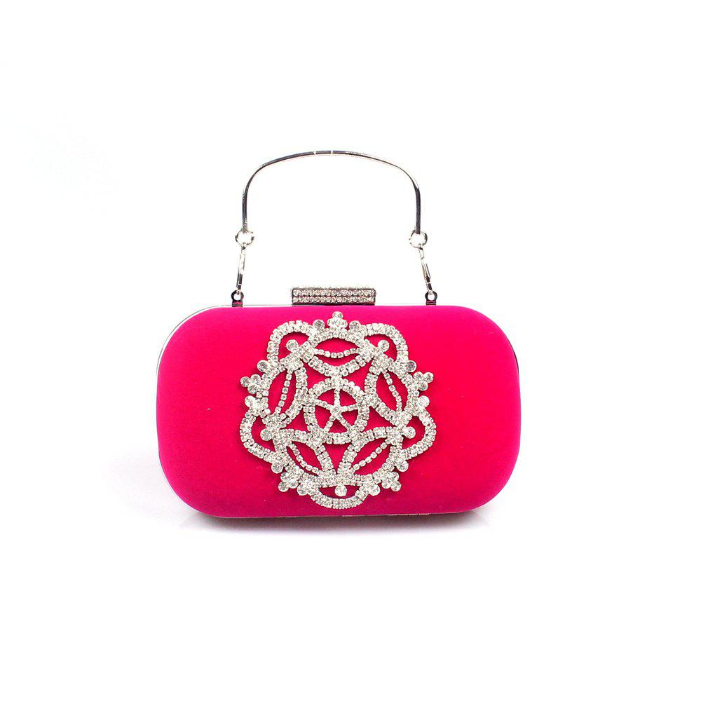 Women Velvet Evening Bag Crystal Rhinestone Wedding Event Party Formal - FUCHSIA