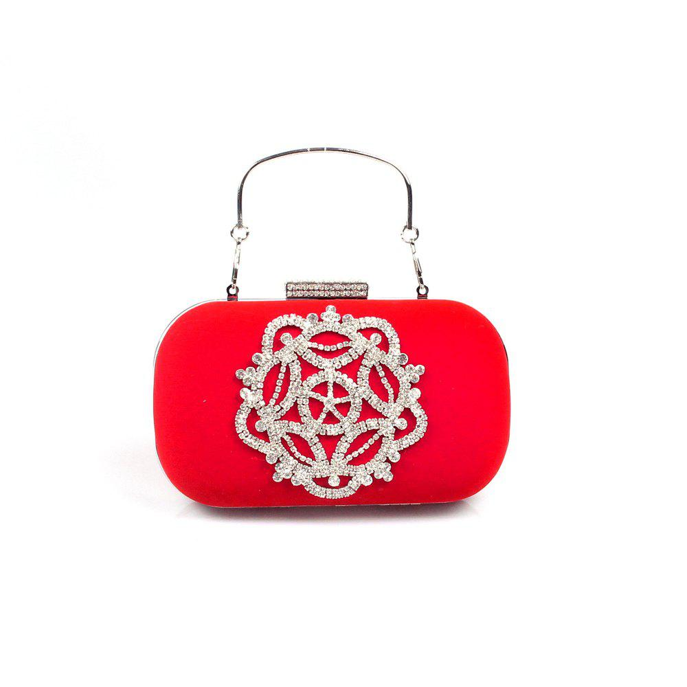 Women Velvet Evening Bag Crystal Rhinestone Wedding Event Party Formal - RED