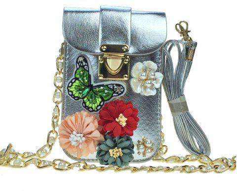 Women Bags PU leatherette Mobile Phone Bag Rhinestone Appliques Satin Flower Sparkling Glitter Detailing Bead Flor - SILVER