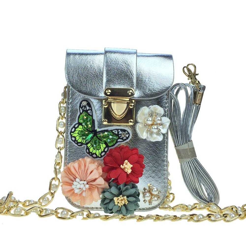 Women Bags PU leatherette Mobile Phone Bag Rhinestone Appliques Satin Flower Sparkling Glitter Pearl Detailing Bead Flor - SILVER