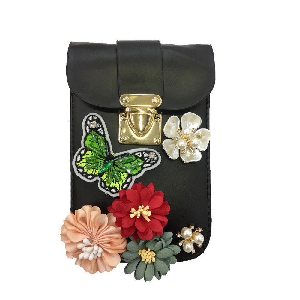 Women Bags PU leatherette Mobile Phone Bag Rhinestone Appliques Satin Flower Sparkling Glitter Pearl Detailing Bead Flor - BLACK