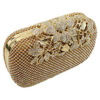 Women Evening Bag Crystal Rhinestone Acrylic Jewels Wedding Event Party Formal - GOLDEN