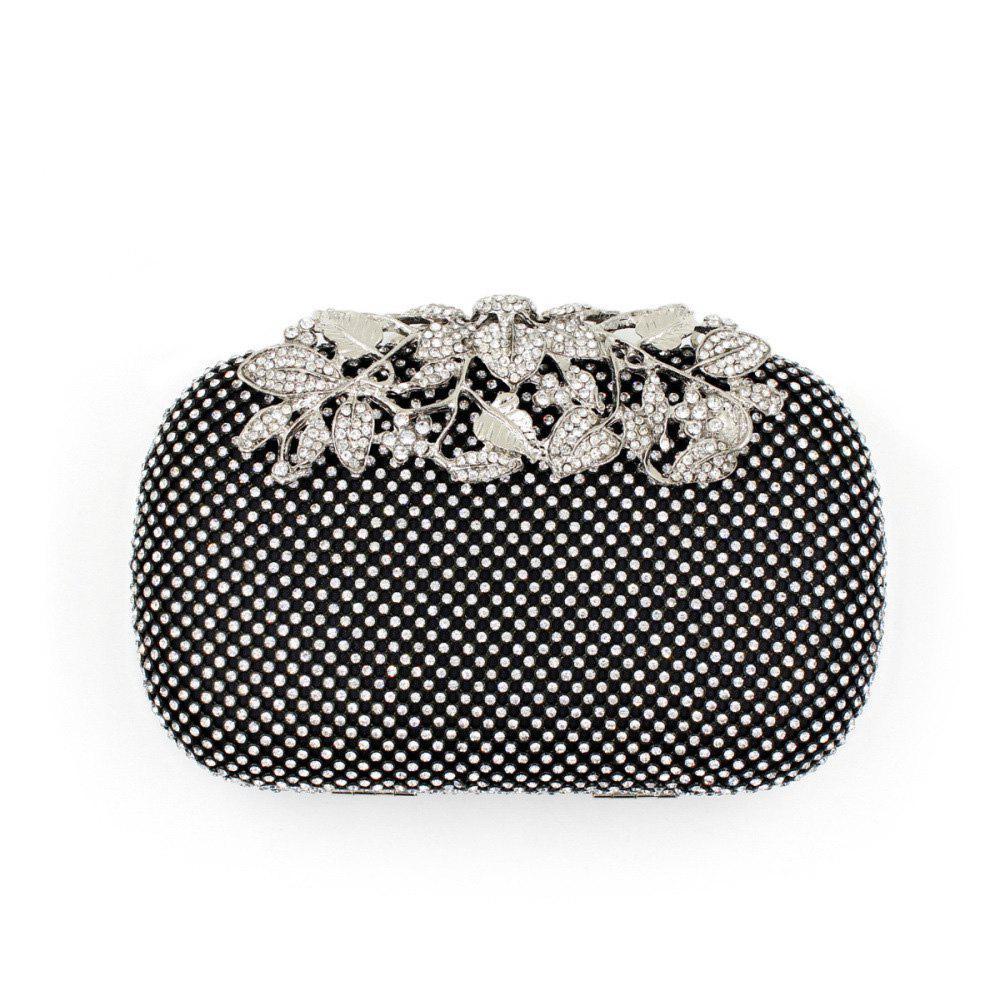 Women Evening Bag Crystal Rhinestone Acrylic Jewels Wedding Event Party Formal - BLACK