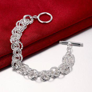 Alloy Ring Chain Bracelet Charm Jewelry Gift for Women - SILVER