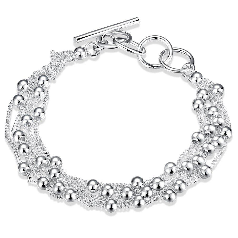 Korean Style Alloy Bead Chain Bracelet Charm Jewelry - SILVER