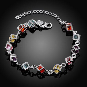 Romantic Alloy Rhinestone Chain Bracelet Charm Jewelry - multicolorCOLOR