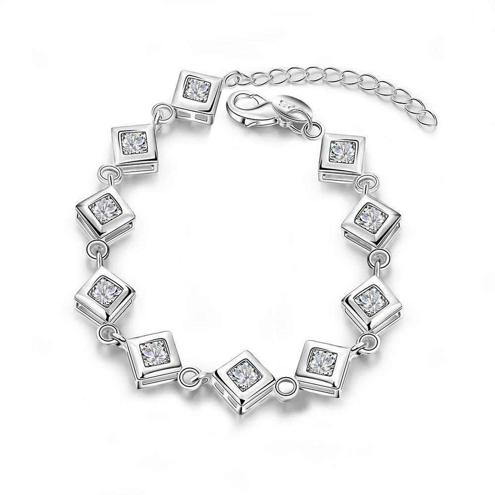Romantic Zircon Alloy Chain Bracelet Charm Jewelry - SILVER