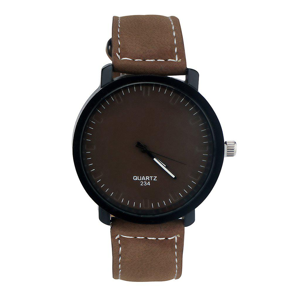 Simple Fashion PU Band Men Watch - COFFEE