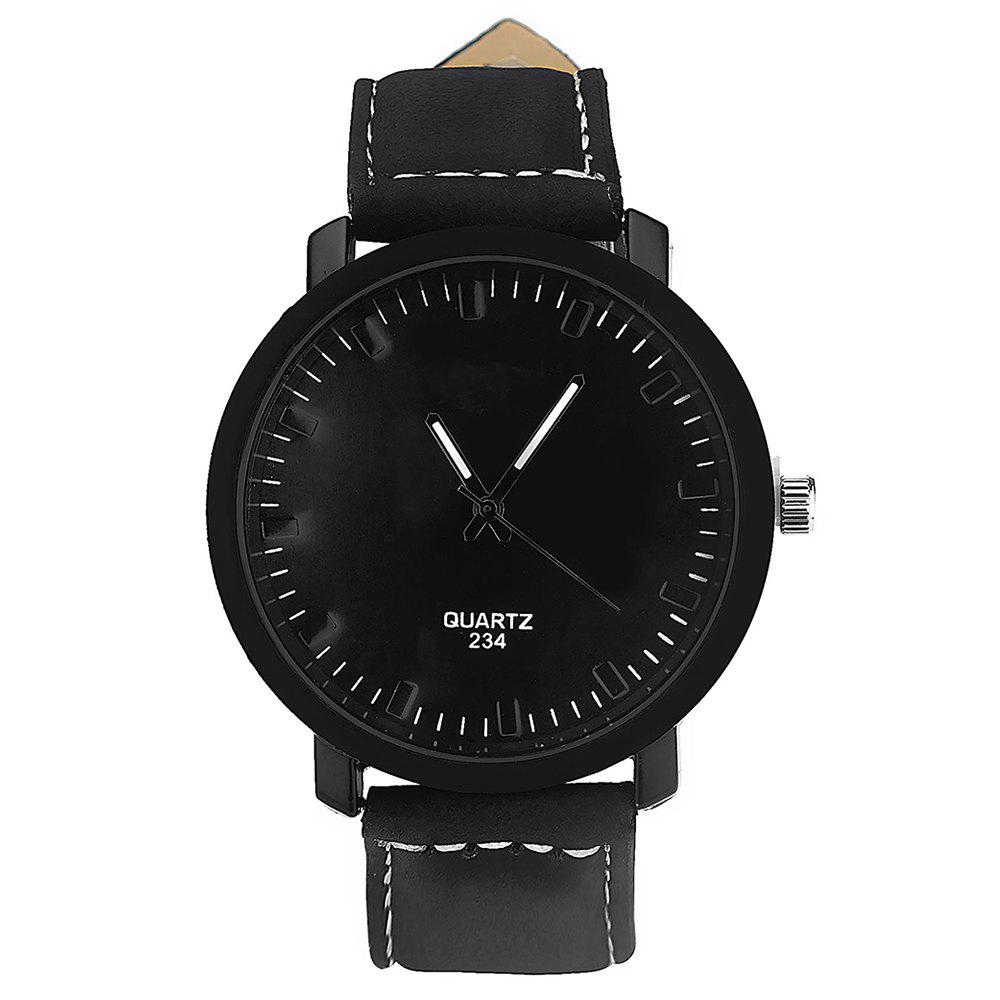 Simple PU Band Trendy Men Watch - BLACK