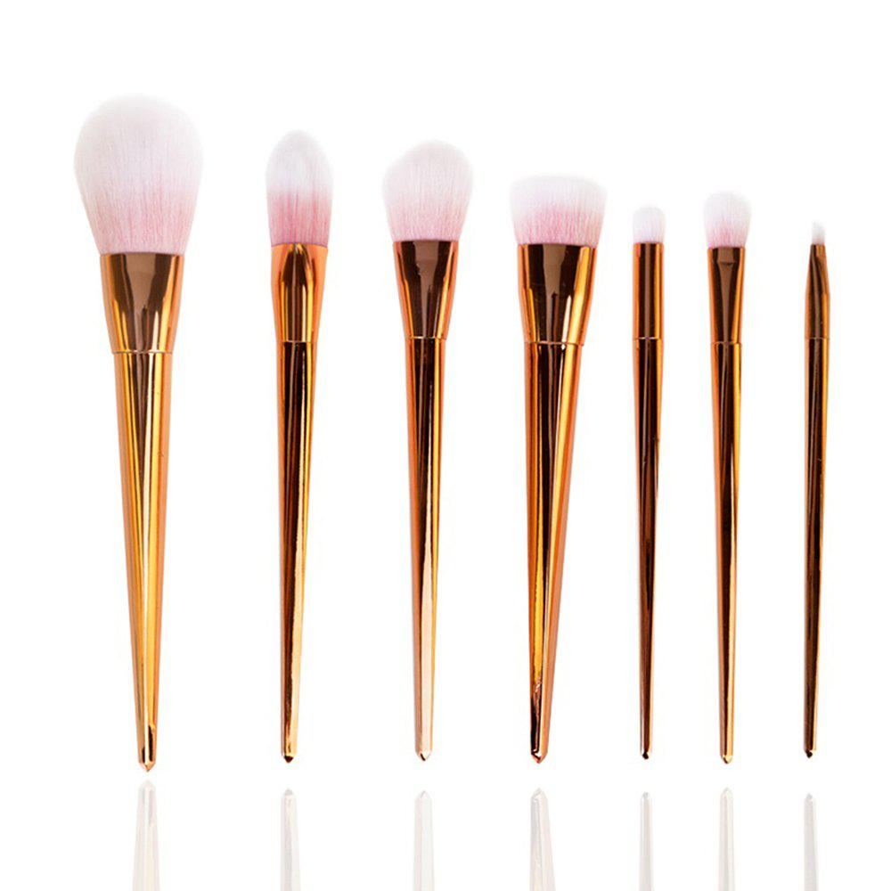 7 PCS Plastic Handle Make Up Brush Suit - ROSE GOLD