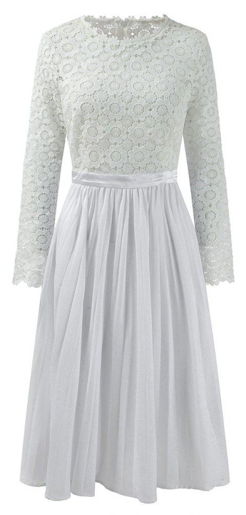 2018 Spring Women's Floral Crocht Hollow Out Patchwork Lace Dress - WHITE S