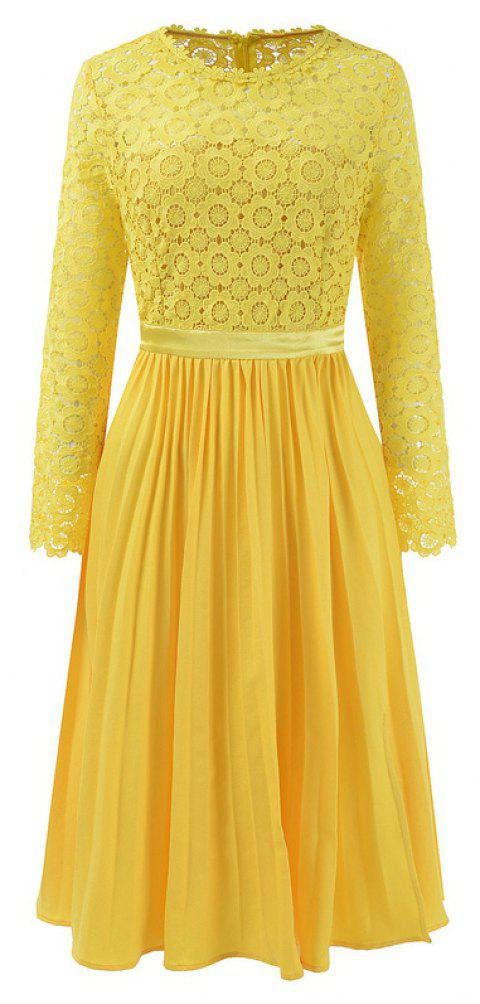 2018 Spring Women's Floral Crocht Hollow Out Patchwork Lace Dress - YELLOW XL