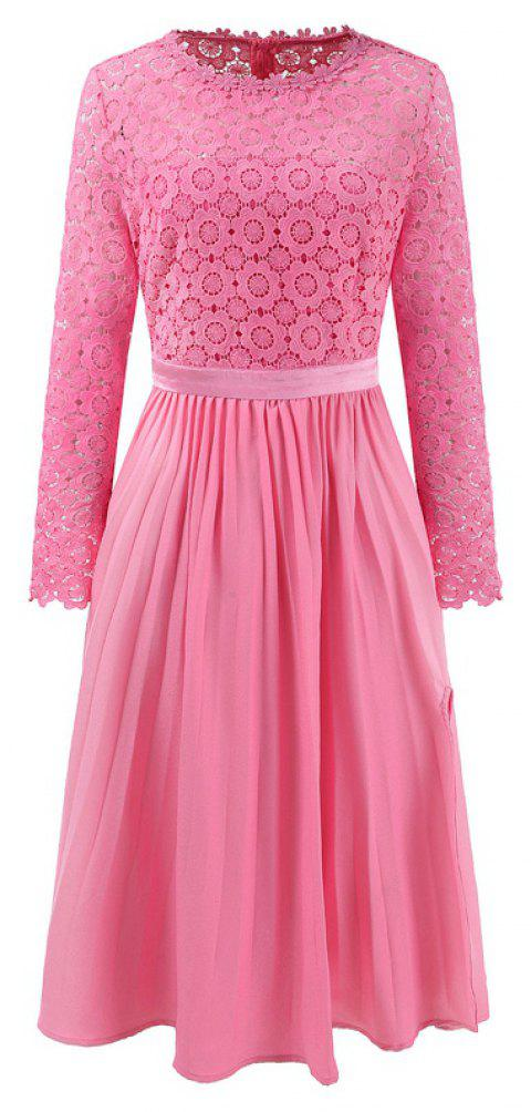 2018 Spring Women's Floral Crocht Hollow Out Patchwork Lace Dress - PINK 02 XL