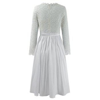 2018 Spring Women's Floral Crocht Hollow Out Patchwork Lace Dress - WHITE 2XL