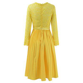 2018 Spring Women's Floral Crocht Hollow Out Patchwork Lace Dress - YELLOW M