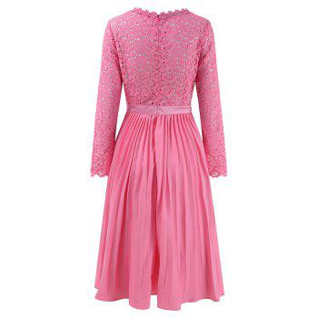 2018 Spring Women's Floral Crocht Hollow Out Patchwork Lace Dress - PINK S