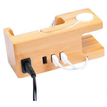 Multi-Functional 3USB Phone Charger Bracket for Apple Watch - WOOD GRAIN EU PLUG