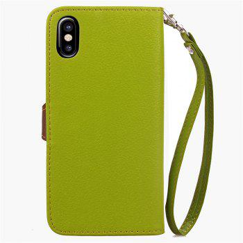 Leaf Luxury Leather Wallet Stand Flip Cover Case for iPhone X - GREEN